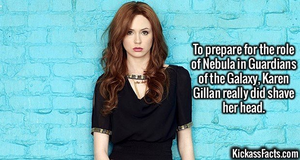 2589 Karen Gillan-To prepare for the role of Nebula in Guardians of the Galaxy, Karen Gillan really did shave her head.