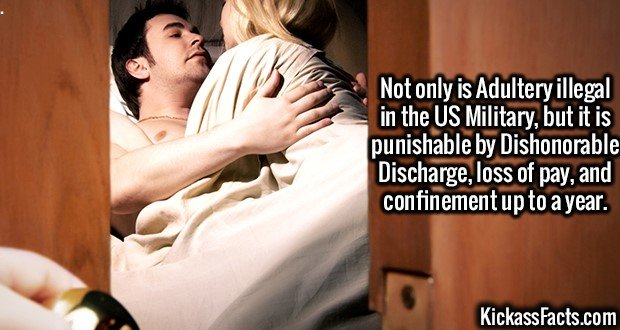 2611 Adultery-Not only is Adultery illegal in the US Military, but it is punishable by Dishonorable Discharge, loss of pay, and confinement up to a year.