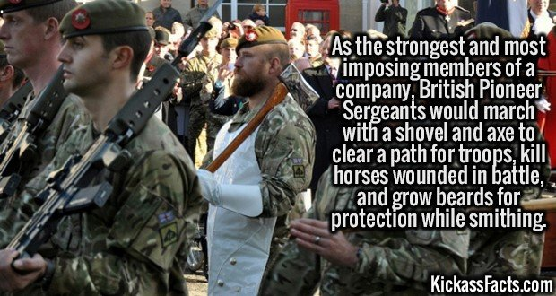2615 British Pioneer Sergeants-As the strongest and most imposing members of a company, British Pioneer Sergeants would march with a shovel and axe to clear a path for troops, kill horses wounded in battle, and grow beards for protection while smithing.