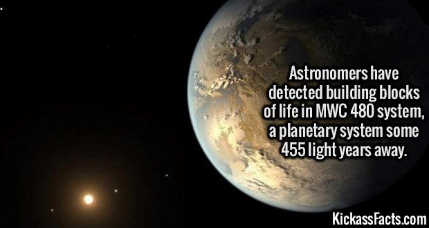 2638 MWC 480-Astronomers have detected building blocks of life in MWC 480 system, a planetary system some 455 light years away.