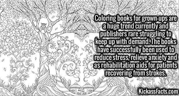 2647 Coloring book for grown-ups-Coloring books for grown-ups are a huge trend currently and publishers rare struggling to keep up with demand. The books have successfully been used to reduce stress, relieve anxiety and as rehabilitation aids for patients recovering from strokes.