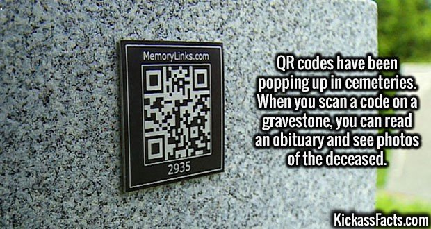 2681 Gravestone QR codes-QR codes have been popping up in cemeteries. When you scan a code on a gravestone, you can read an obituary and see photos of the deceased.