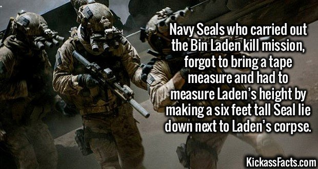 2730 Bin Laden Death-Navy Seals who carried out the Bin Laden kill mission, forgot to bring a tape measure and had to measure Laden's height by making a six feet tall Seal lie down next to Laden's corpse.