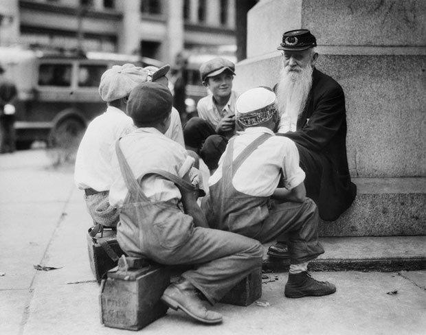 A group of bootblacks