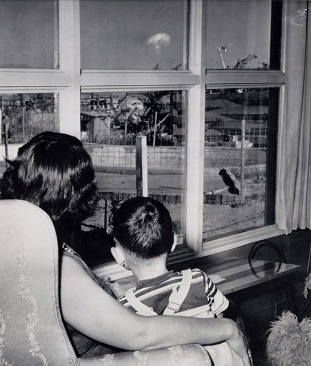 Mom and son watching the mushroom cloud