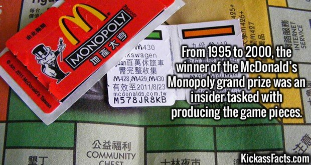 2964 McDonald's Monopoly-From 1995 to 2000, the winner of the McDonald's Monopoly grand prize was an insider tasked with producing the game pieces.