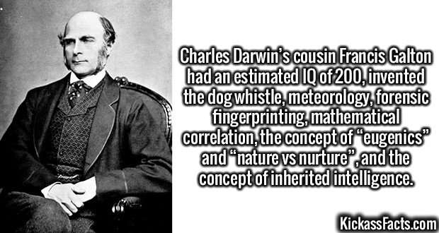 "2966 Francis Galton-Charles Darwin's cousin Francis Galton had an estimated IQ of 200, invented the dog whistle, meteorology, forensic fingerprinting, mathematical correlation, the concept of ""eugenics"" and ""nature vs nurture"", and the concept of inherited intelligence."
