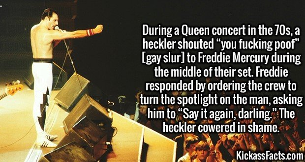 "2970 Freddie Mercury-During a Queen concert in the 70s, a heckler shouted ""you fucking poof"" [gay slur] to Freddie Mercury during the middle of their set. Freddie responded by ordering the crew to turn the spotlight on the man, asking him to ""Say it again, darling."" The heckler cowered in shame."