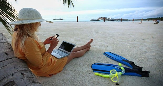 Working from Beach