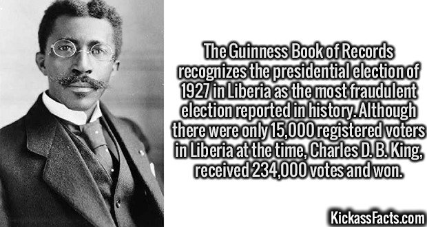 2995 Charles D. B. King-The Guinness Book of Records recognizes the presidential election of 1927 in Liberia as the most fraudulent election reported in history. Although there were only 15,000 registered voters in Liberia at the time, Charles D. B. King, received 234,000 votes and won.