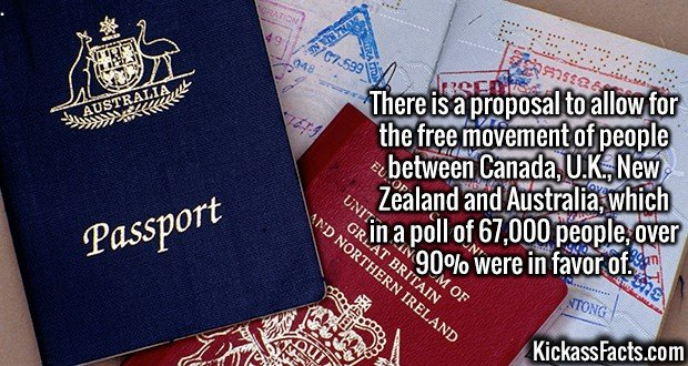 3006 Free Movement-There is a proposal to allow for the free movement of people between Canada, U.K., New Zealand and Australia, which in a poll of 67,000 people, over 90% were in favor of.