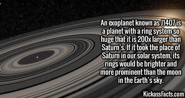3010 J1407-An exoplanet known as J1407 is a planet with a ring system so huge that it is 200x larger than Saturn's. If it took the place of Saturn in our solar system, its rings would be brighter and more prominent than the moon in the Earth's sky.