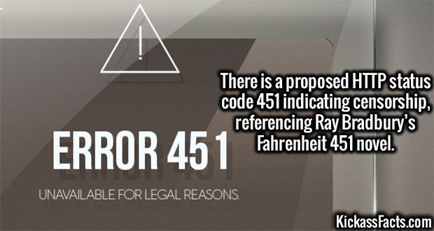 3015 HTTP 451-There is a proposed HTTP status code 451 indicating censorship, referencing Ray Bradbury's Fahrenheit 451 novel.