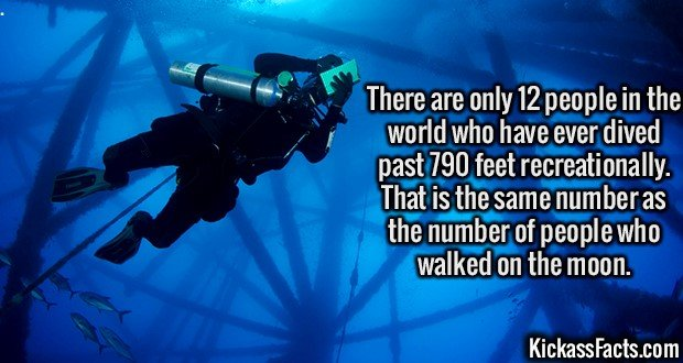 3031 Deep Water Diving-There are only 12 people in the world who have ever dived past 790 feet recreationally. That is the same number as the number of people who walked on the moon.