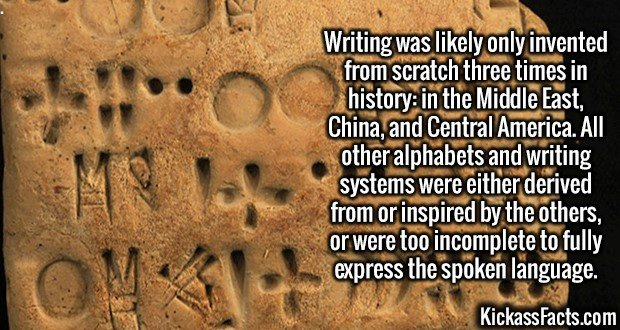 3041 Writing-Writing was likely only invented from scratch three times in history: in the Middle East, China, and Central America. All other alphabets and writing systems were either derived from or inspired by the others, or were too incomplete to fully express the spoken language.