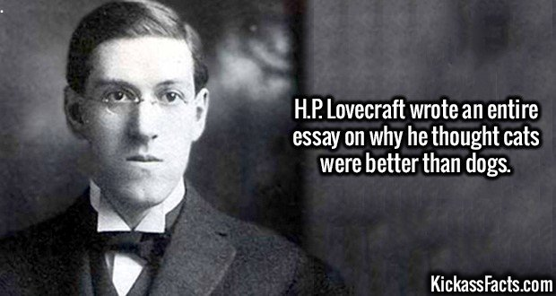 3075 H.P. Lovecraft-H.P. Lovecraft wrote an entire essay on why he thought cats were better than dogs.