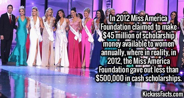 3088 Miss America-In 2012 Miss America Foundation claimed to make $45 million of scholarship money available to women annually, where in reality, in 2012, the Miss America Foundation gave out less than $500,000 in cash scholarships.