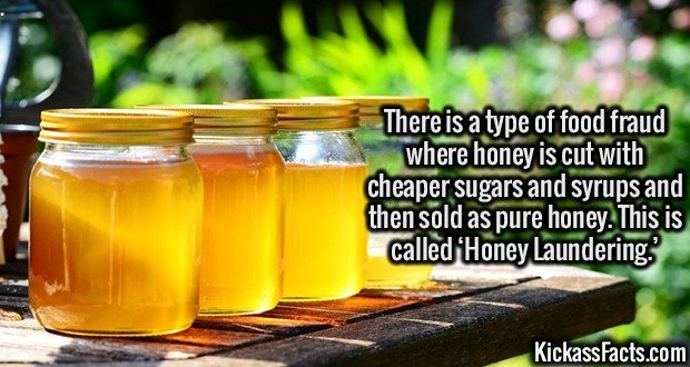 3115 Fake Honey-There is a type of food fraud where honey is cut with cheaper sugars and syrups and then sold as pure honey. This is called 'Honey Laundering.'