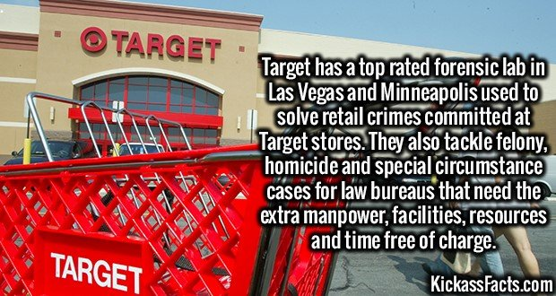 3165 Target Forensic Lab-Target has a top rated forensic lab in Las Vegas and Minneapolis used to solve retail crimes committed at Target stores. They also tackle felony, homicide and special circumstance cases for law bureaus that need the extra manpower, facilities, resources and time free of charge.