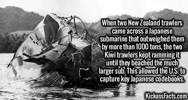 3172 Japanese submarine-When two New Zealand trawlers came across a Japanese submarine that outweighed them by more than 1000 tons, the two Kiwi trawlers kept ramming it until they beached the much larger sub. This allowed the U.S. to capture key Japanese codebooks.