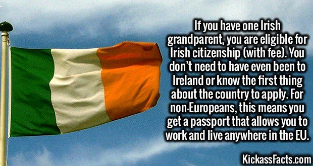 3176 Irish Citizenship-If you have one Irish grandparent, you are eligible for Irish citizenship (with fee). You don't need to have even been to Ireland or know the first thing about the country to apply. For non-Europeans, this means you get a passport that allows you to work and live anywhere in the EU.