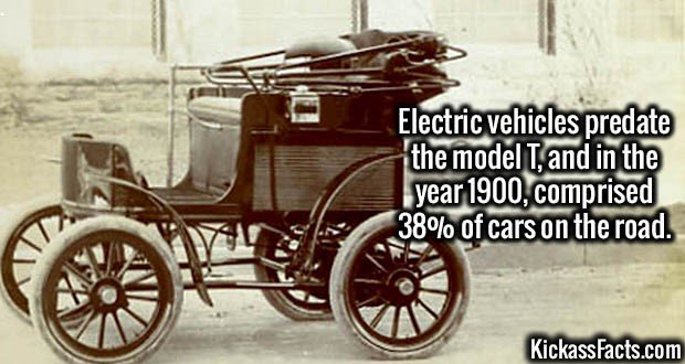 3177 Electric Vehicles-Electric vehicles predate the model T, and in the year 1900, comprised 38% of cars on the road.