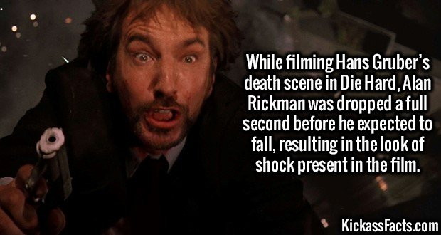 3178 Hans Gruber-While filming Hans Gruber's death scene in Die Hard, Alan Rickman was dropped a full second before he expected to fall, resulting in the look of shock present in the film.
