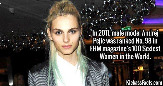 3181 Andrej Pejić-In 2011, male model Andrej Pejić was ranked No. 98 in FHM magazine's 100 Sexiest Women in the World.