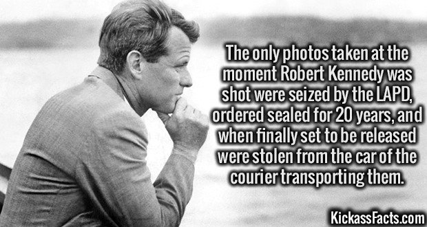 3297 Robert Kennedy-The only photos taken at the moment Robert Kennedy was shot were seized by the LAPD, ordered sealed for 20 years, and when finally set to be released were stolen from the car of the courier transporting them.