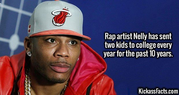 3358 Rap Artist nelly-Rap artist Nelly has sent two kids to college every year for the past 10 years.