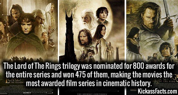 3384 LOTR Trilogy Awards-The Lord of The Rings trilogy was nominated for 800 awards for the entire series and won 475 of them, making the movies the most awarded film series in cinematic history.
