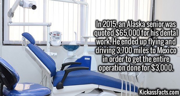 3385 Dental Care Costs-In 2015, an Alaska senior was quoted $65,000 for his dental work. He ended up flying and driving 3,700 miles to Mexico in order to get the entire operation done for $3,000.