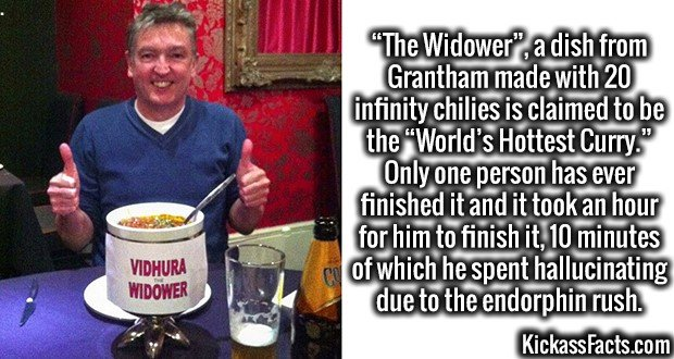 "3519 Widower-""The Widower"", a dish from Grantham made with 20 infinity chilies is claimed to be the ""World's Hottest Curry."" Only one person has ever finished it and it took an hour for him to finish it, 10 minutes of which he spent hallucinating due to the endorphin rush."
