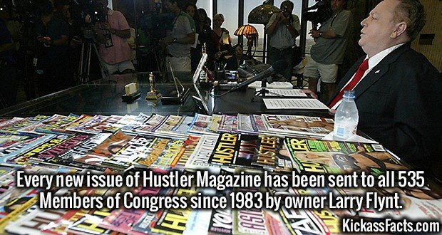 3590 Members of Congress Hustler-Every new issue of Hustler Magazine has been sent to all 535 Members of Congress since 1983 by owner Larry Flynt.