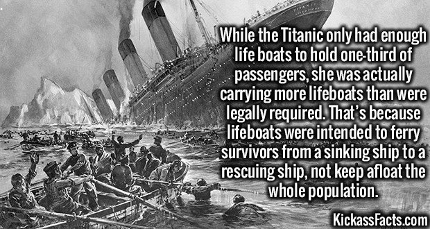 3595 Titanic-While the Titanic only had enough life boats to hold one-third of passengers, she was actually carrying more lifeboats than were legally required. That's because lifeboats were intended to ferry survivors from a sinking ship to a rescuing ship, not keep afloat the whole population.
