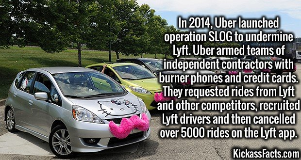 3618 Lyft-In 2014, Uber launched operation SLOG to undermine Lyft. Uber armed teams of independent contractors with burner phones and credit cards. They requested rides from Lyft and other competitors, recruited Lyft drivers and then cancelled over 5000 rides on the Lyft app.