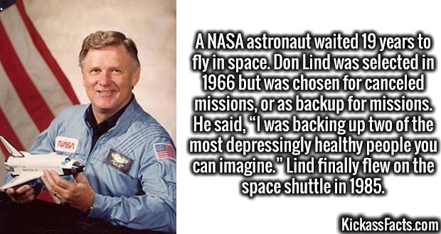 """3625 Don L. Lind-A NASA astronaut waited 19 years to fly in space. Don Lind was selected in 1966 but was chosen for canceled missions, or as backup for missions. He said, """"I was backing up two of the most depressingly healthy people you can imagine."""" Lind finally flew on the space shuttle in 1985."""