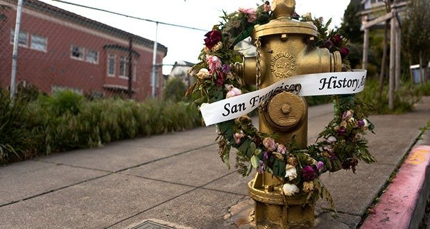 The fire hydrant at 20th & Church is painted every year on the anniversary of the earthquake that destroyed much of San Francisco.