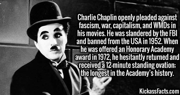 3790 Charlie Chaplin-Charlie Chaplin openly pleaded against fascism, war, capitalism, and WMDs in his movies. He was slandered by the FBI and banned from the USA in 1952. When he was offered an Honorary Academy award in 1972, he hesitantly returned and received a 12-minute standing ovation; the longest in the Academy's history.