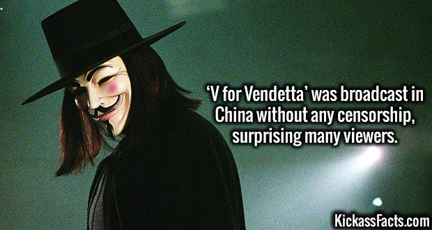 3829 V for Vendetta-'V for Vendetta' was broadcast in China without any censorship, surprising many viewers.