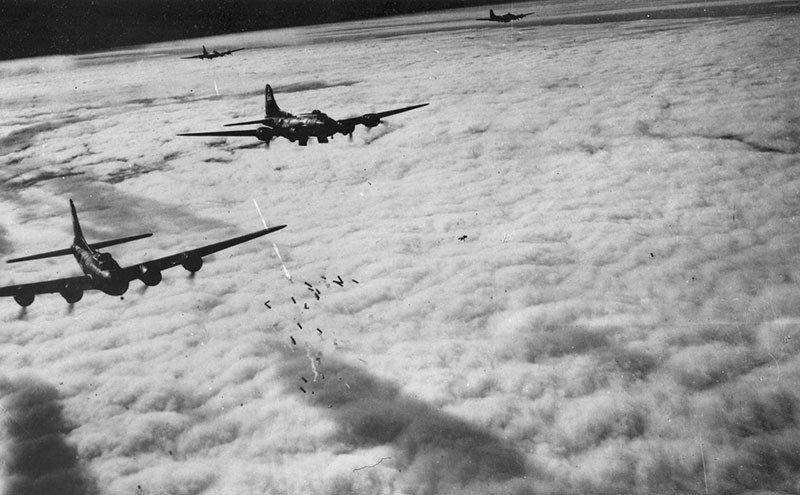 Boeing B-17F radar bombing through clouds over Bremen, Germany, on Nov. 13, 1943. (U.S. Air Force photo)