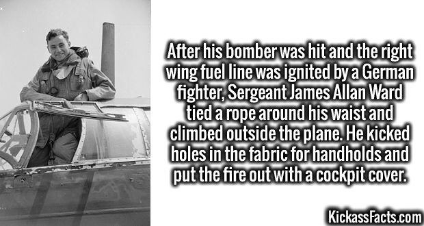 4172-james-allan-ward-After his bomber was hit and the right wing fuel line was ignited by a German fighter, Sergeant James Allan Ward tied a rope around his waist and climbed outside the plane. He kicked holes in the fabric for handholds and put the fire out with a cockpit cover.