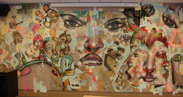 Murals painted by David Choe for Facebook Office