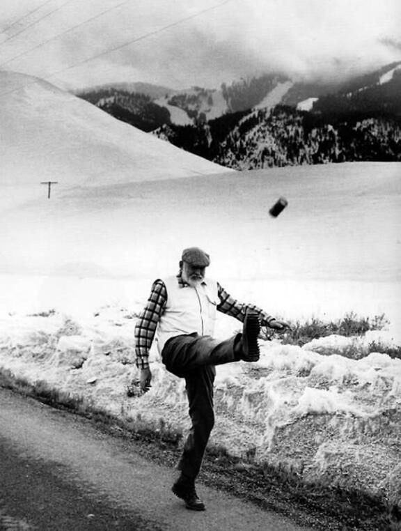 ernest-hemingway-kicking-a-beer-can