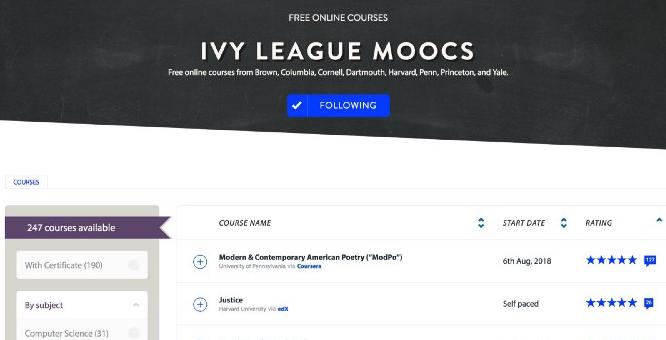 ivy league courses online