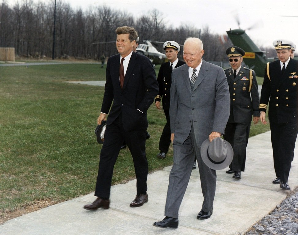 preseident john kennedy meets with former president dwight