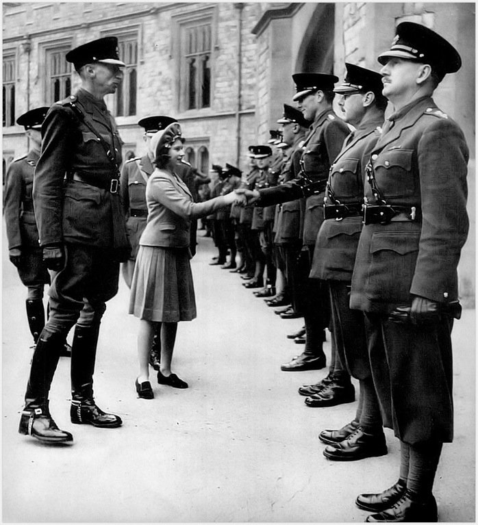 princess elizabeth being introduced to officers