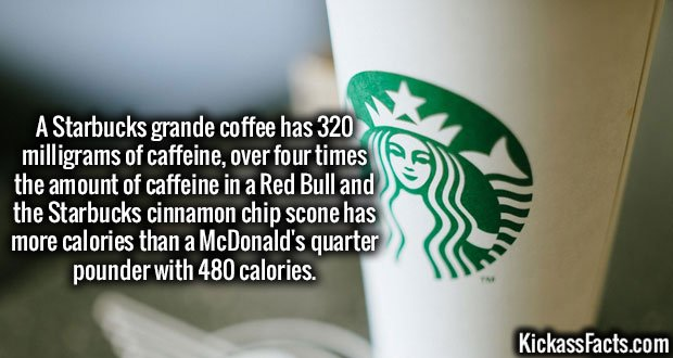A Starbucks grande coffee has 320 milligrams of caffeine, over four times the amount of caffeine in a Red Bull and the Starbucks cinnamon chip scone has more calories than a McDonald's quarter pounder with 480 calories.