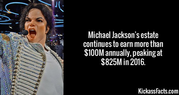 Michael Jackson's estate continues to earn more than $100M annually, peaking at $825M in 2016.