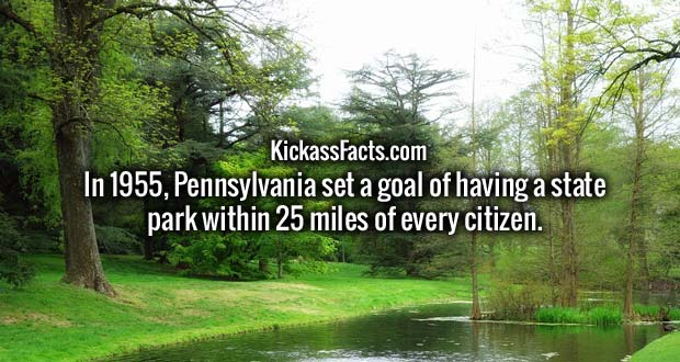 In 1955, Pennsylvania set a goal of having a state park within 25 miles of every citizen.